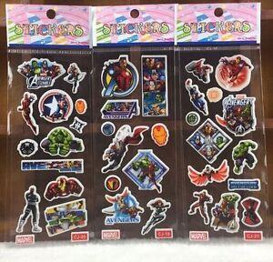3-sheets-Avengers-Hulk-Thor-Captain-America-Iron-puffy-3D-Stickers-Kids-cartoon