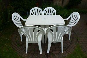 Jardin Grosfillex Gartenmobel Set Weiss Tisch 6 Stuhle Plastik Ebay