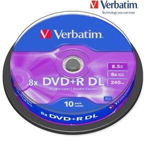 Verbatim Dvd R 8 5gb 8x Speed 240min Double Layer Dvd Discs Pack 10 Ebay
