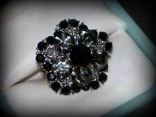 BLACK CRYSTAL SILVER FLOWER RING WEDDING BRIDESMAIDS GIFT ADJUSTABLE SZ 7/8/9/10