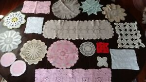 vintage crocheted  doilies lot of 22 pcs hand crafted in Nova Scotia c.1960