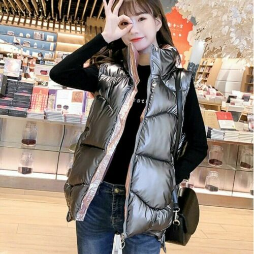 Women Shiny Gilet Waistcoat Puffer Down Coat Quilted Padded Jacket Parka