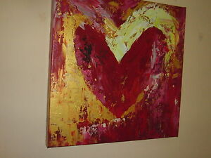 Red-Heart-Gold-leaf-Oil-Painting-20x20-not-a-poster-or-print-Heavy-oil-pallet
