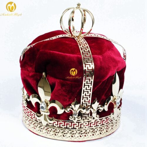 """Red Velvet 9/"""" King Crowns Renaissance Imperial Medieval Tiaras Pageant Costumes"""
