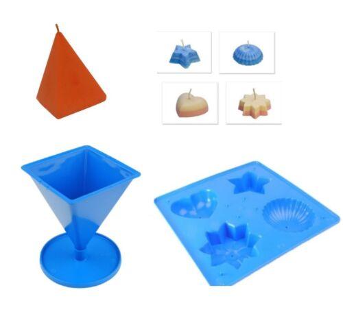 1 X 4 Bandeja con formas y 1 X S7568 Molde de pirámide Juego de 2 Moldes de vela