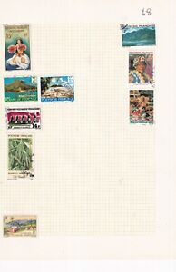 FRENCH POLYNESIA 1980's ALBUM PAGE OF 9 STAMPS