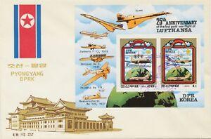 Coree-1980-25-anniversaire-de-la-premiere-guerre-vol-de-la-Lufthansa-3-differentes-FDC-039-s