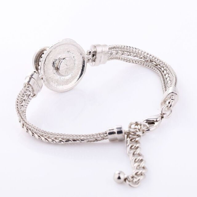 Fashion Silver Color Crystal DIY Bracelet Bangle Chain For Button Snap Jewelry o