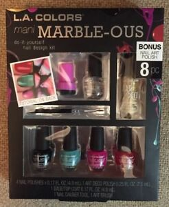 L.A. COLORS Mani MARBLE-OUS Nail Polish Design Kit ~8 Pc Set W ...