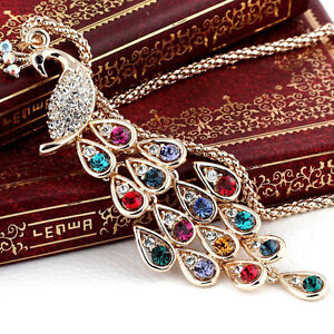 Charm-Women-Gold-Plated-Crystal-Peacock-Pendant-Necklace-Sweater-Chain-Jewelry