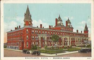 Brunswick-GEORGIA-Oglethorpe-Hotel-1933-LINEN-old-cars