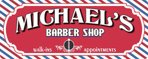 Nostalgic barber shop personalized sign with barber pole stripes c1267
