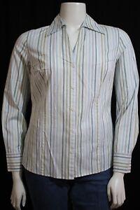 Ann-Taylor-LOFT-Misses-14-Green-Blue-White-Stripe-LS-Button-Front-Blouse-Shirt