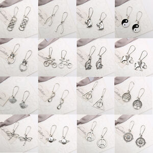 Retro-Unique-Genuine-Handmade-Tibetan-Silver-Drop-Dangle-Earrings-Stud-Jewelry