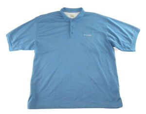 Men-039-s-Columbia-PFG-Omni-Shade-Blue-Short-Sleeve-Polo-Fishing-Shirt-Size-XL