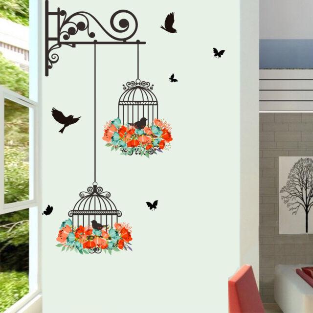 birdcage wall&paper diy art decals 3d vinyl wall stickers kids room home decor J