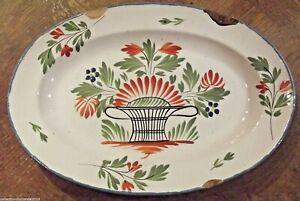 Ancien-plat-de-faience-de-l-039-Est-WALY-18-eme-19-eme-decor-floral