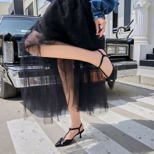 Women-039-s-Slingback-Kitten-Heels-Pointed-Toe-Pumps-Leather-T-Strap-Sandals-Shoes
