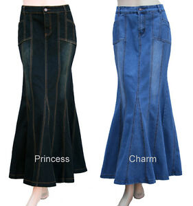 Black-Blue-Long-Denim-Skirt-Mermaid-Silhouette-Plus-Size-26-24-22-20-18-16-14-12