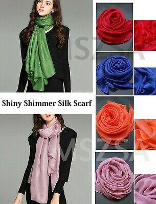 Plain Color Shiny Shimmer Silk Element Crimp Scarf Hijab Shawl Wrap 185cm x 90cm