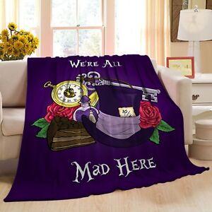 We're All Mad Here Alice In Wonderland Design Fleece Throw