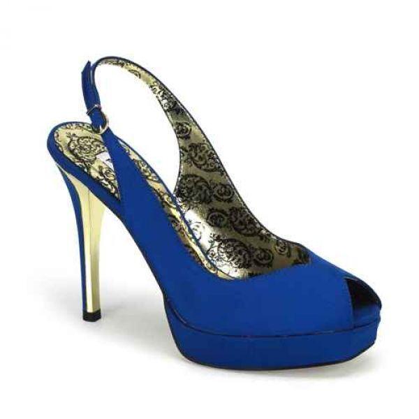Peony-03 elegante Damen Peep Toe High Heels Slingpumps blau Satin Größe 38
