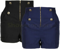 HIGH WAISTED NEW Womens SHORTS MILITARY SIZE 8 10 12 14 Ladies Hotpants STRETCH