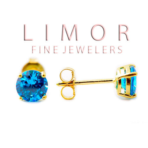 14K YELLOW GOLD PLATED STERLING SILVER BLUE TOPAZ ROUND SHAPE STUD EARRINGS