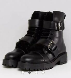 97a3297fd67 Details about Depp Asos Black Leather Fur Buckle Biker hiking Boot, Size 4,  £120, Sold Out!