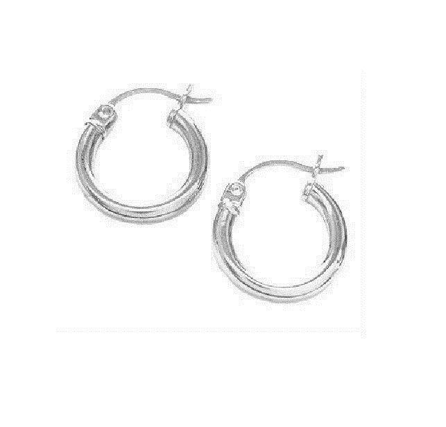 14K Real White gold ShinyTubular Hoops Hoop Earrings 15x2.5mm