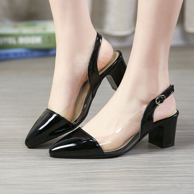 New Summer Femme Chaussures Escarpins Clair Sandales Mi Block Talons chaussures ESCARPINS SZ