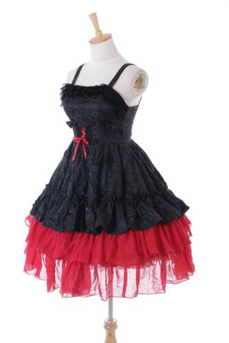 JL-685 Rot Schwarz Rüschen Kleid Chiffon Gothic Lolita Kostüm Cosplay Feier