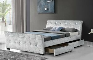 2b3bc8f5b4744 4 Drawer Sleigh Storage Bed Madrid Crushed Velvet Frame Double ...
