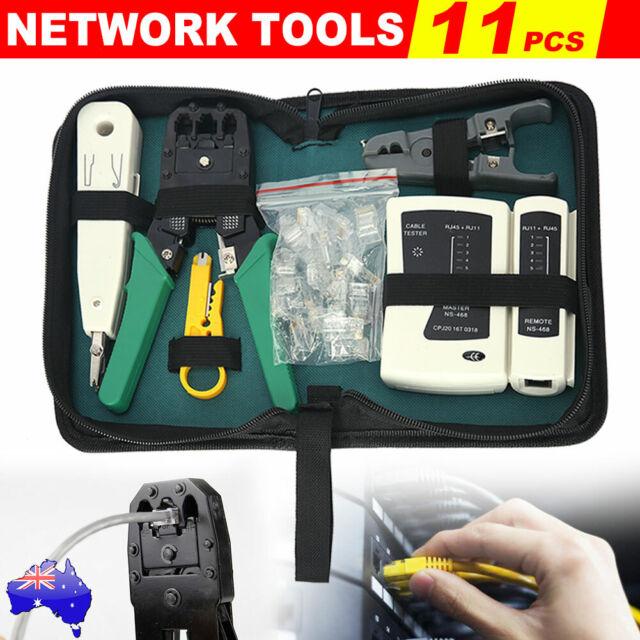 CAT6/5 LAN Network Tool RJ45 Crimper Wire Tester Stripper Punch Down Cutter Kit