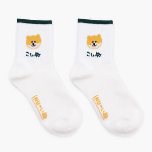 Korean Creative Pug/Dog Prints Harajuku Funny Cute Women Socks White Jacquard by Cosplacool