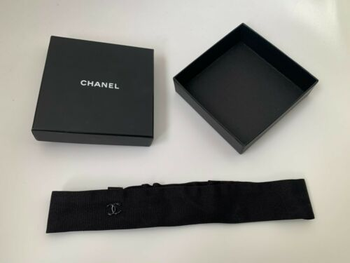 CHANEL Black 100% Silk Grosgrain Ribbon CC Logo He