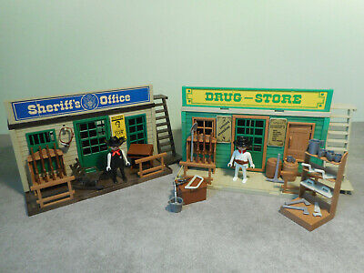 PLAYMOBIL vintage maisons western poteau vert central saloon 3425 3461