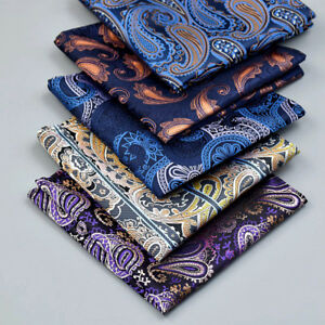 """US Seller New 10/"""" 100/% Silk Pocket Square Purple//Red  Paisley-2"""