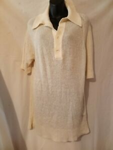 70-039-s-Vintage-IZOD-Weiss-Boucle-Strick-46-034-Brust-gross-Tennis-Pullover-Polo