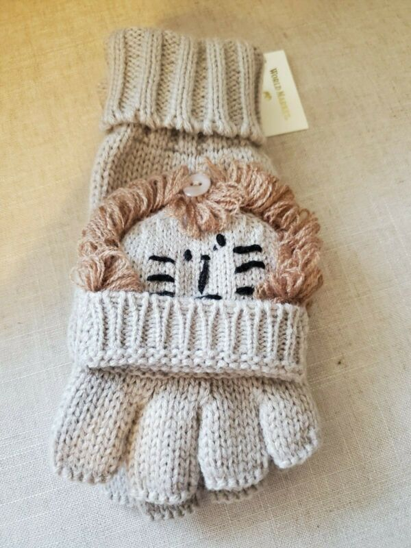 Alert Lion Gloves Fingerless Flip Top Womens Texting Knit Warm Fun Nwt New Tan Cute Easy And Simple To Handle