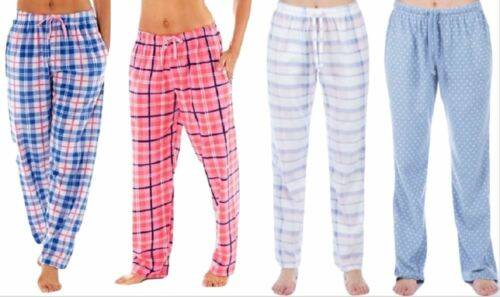 Womens Selena Secrets Trudie Fleece Check Comfy Lounge Pants Pyjama Bottoms