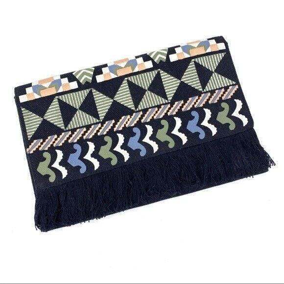 Stella & Dot Taj Black Embroidered Fringe Clutch Geometric Bag