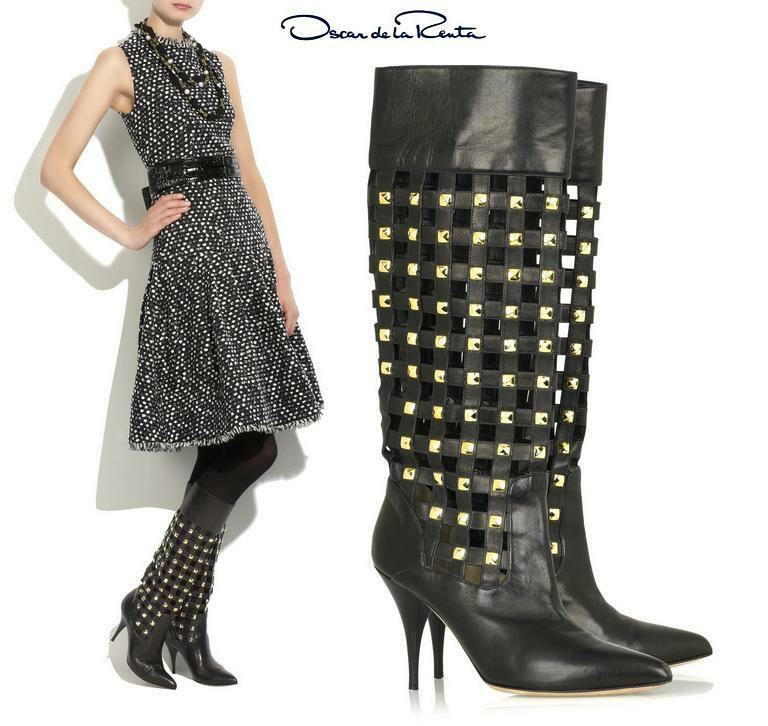 Oscar de la la la Renta botas de Cuero Negro 36.5-6.5  cómodo