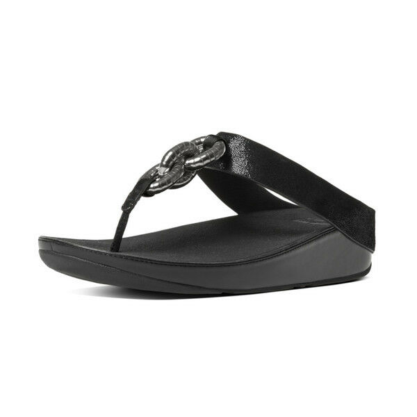459fa9423 FitFlop Super Chain Superchain Leather Toe Post Black Sandals Boxed ...