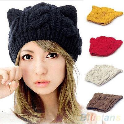New Women Warm Winter Knit Crochet Braided Cat Ears Beret Beanie Ski Knitted Hat