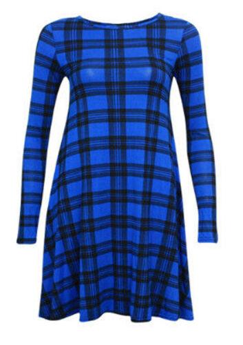 UK 08-26 Femme Maillot à Manches Longues Tartan Swing Robe Patineuse Uni//Imprimé Top