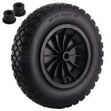 """PU 14"""" BLACK Puncture Proof Solid 3.50-8 wheelbarrow wheel complete with AXLE"""