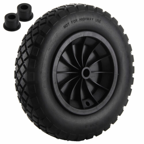 """PU 14/"""" Black Puncture Proof Solid 3.50-8 WHEELBARROW Wheel complete with Axle"""