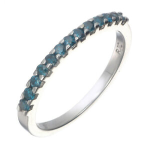 Ravissement Sterling Silver Blue Diamond Wedding Band (1/6 Ct)