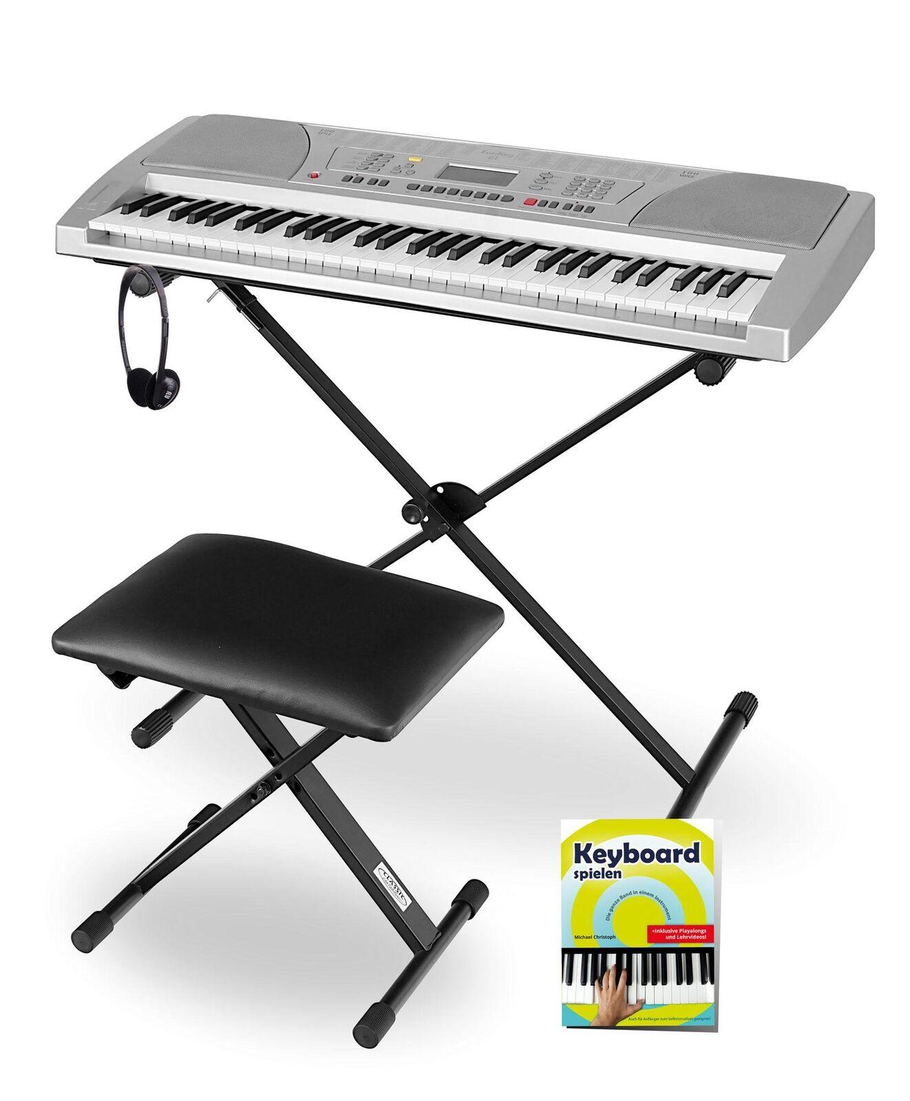 Silbernes Keyboard-Paket für Anfänger mit Ständer, Bank, Kopfhörer und Schule